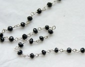 1 foot, Faceted Black Spinel Gems with Sterling Silver Vermeil Chain, hand wired
