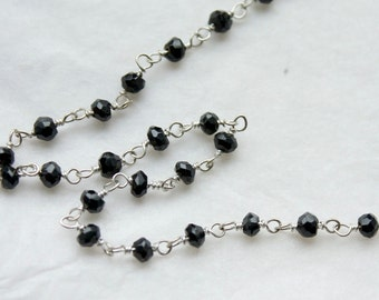 SALE black spinel 2 feet Sterling Silver Chain, hand wired
