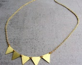 Gold brass garland choker necklace, geometric jewelry, triangle necklace