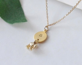 Personalized Elephant Necklace, Tiny Gold Elephant Stamped Initial Necklace, Gold Brass,Custom Monogramm Jewelry,Girl Necklace,Birthday Gift