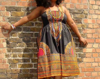 African Dashiki Print Sundress Large Black
