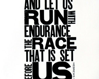 Running Themed Art, Black and White Letterpress Poster, Motivational Print for Runner, Religious Bible Verse, Gift for Runner, 11 x 17