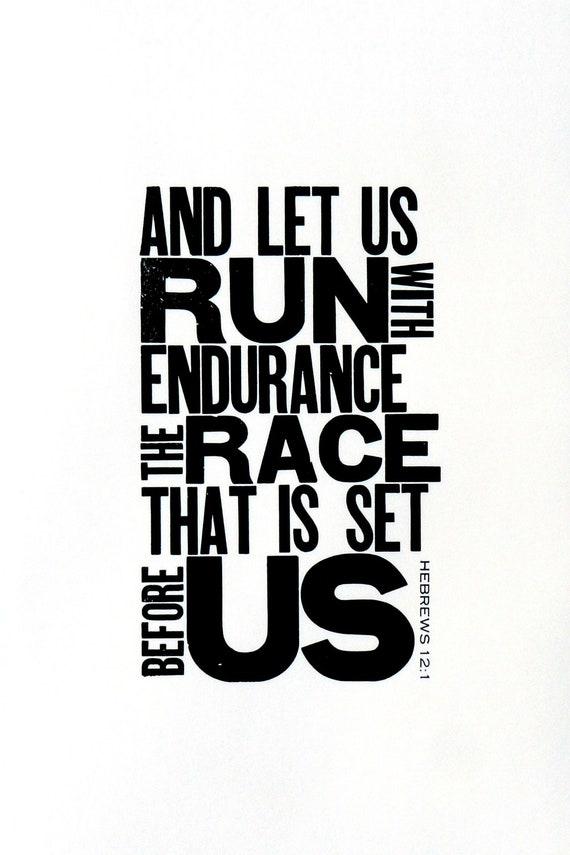 Running Themed Art, Black and White Letterpress Poster, Motivational Print for Runner, Religious Bible Verse, Gift for Runner, 11 x 17