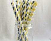 free custom straw flags - 25 x Nautical Navy and Yellow Paper Straws