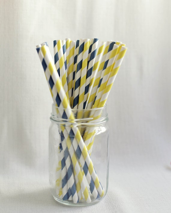 free custom straw flags - 25 x Nautical Navy and Yellow Paper Straws