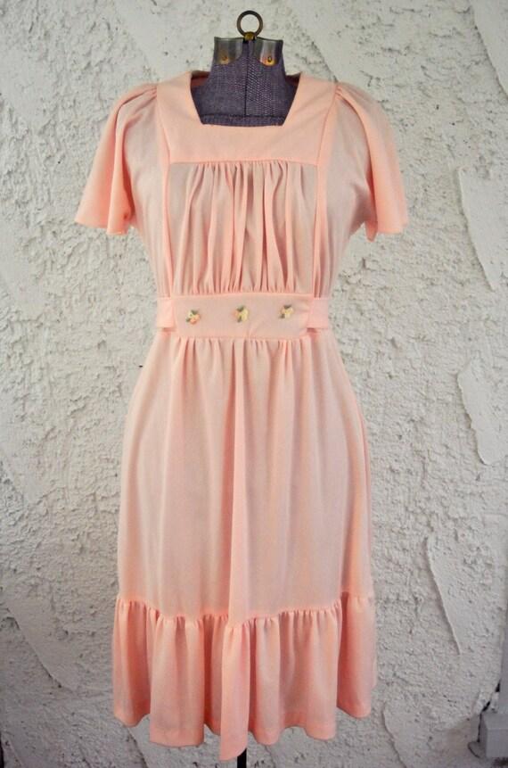Vintage 1970s Pink Prairie Babydoll Dress - S/M