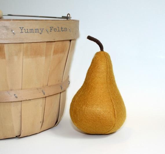 Play Food Felt Pear Golden Bosc Pretend Fruit Eco Friendly Toy
