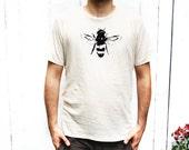 Mens Tshirt - Honey Bee - Organic Cotton - Small, Medium, Large, XL , 2X- Clothing