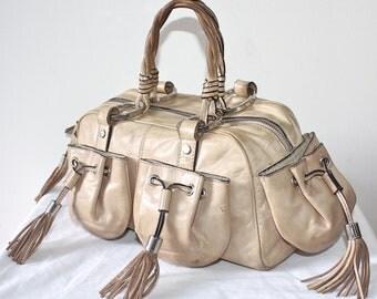 GIVENCHY Vintage Handbag Butter Soft Leather Taupe Fringe Tassel Tote - AUTHENTIC -