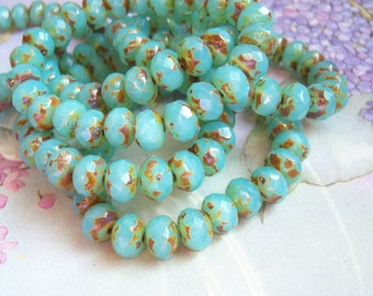 Czech 5mm aqua opal rondelle glass beads with picasso finish, lot of (25) beads -JJ126