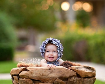 GWEN- Ruffled Light Blue Newborn Fabric Bonnet. Vintage Style. Baby Girl. Photo Prop.
