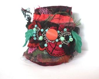Fabric Cuff. Wrist Cuff. Handmade Wrist Cuff.  Handmade French Cuff. Textile Cuff. Vintage Cuff.Antoinettes Garden.Cuff Bracelet