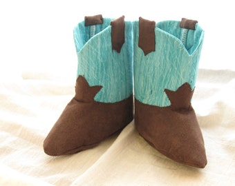 Teal Baby Cowboy Boots with Boot Straps A Soft Soled Baby Shoe