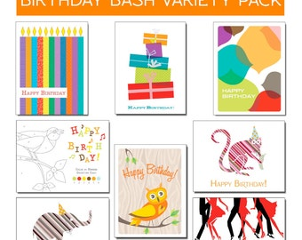 Birthday Bash 8-Card Sampler of Modern Birthday Cards on 100% Recycled Paper
