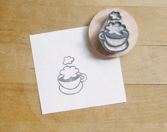 Clouds in My Coffee Hand Carved Rubber Stamp