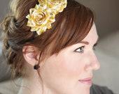 Mustard Stripes Shabby Flower Headband for Women and Girls