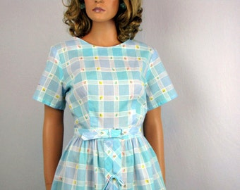 Vintage 1960s Day Dress Sky Blue Plaid with Tiny Embroidered Flowers Medium/Large