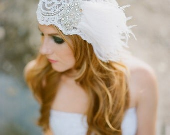 Beaded Veil Bridal Cap with Rhinestone App and Ostrich Plume