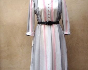 Vintage 70s Pink and Grey Striped Day Dress MEDIUM