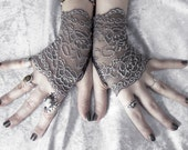 Narquelie Lace Fingerless Glove Mittens - Dark Charcoal Grey Silver Floral Fishnet - Gothic Vampire Victorian Wedding Fetish Goth Bridal
