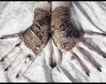 Dryope Lace Fingerless Gloves - Dark Earth Brown Light Mocha Tan Floral - Gothic Wedding Fetish Tribal Bellydance Woodland Goth Mori Bridal