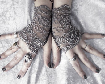 Narquelie Lace Fingerless Glove Mittens | Dark Charcoal Grey Silver Floral Fishnet | Gothic Vampire Victorian Wedding Fetish Goth Bridal