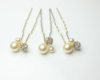 Gold Bridal Hair Pins-Wedding Hair Pins-Swarovski Hair Pins-Rhinestone and Pearl Hairpins-HP104G