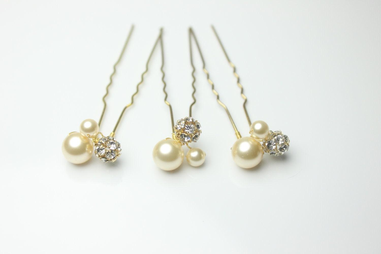Bridal Hair With Pins : Gold bridal hair wedding swarovski