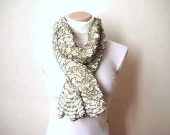 Ivory Scarf - Cream and Black Frilly Scarflette, Neck Tissue, Rag, Neckwarmer, Foulard - Gift for Her - Ready to Ship