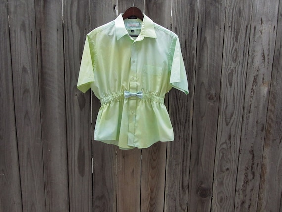 Upcycled Clothing / Ombre Blouse in Green and Yellow with Polka Dot Bow / made from man's shirt / Women Tops Blouses / Urban Chic