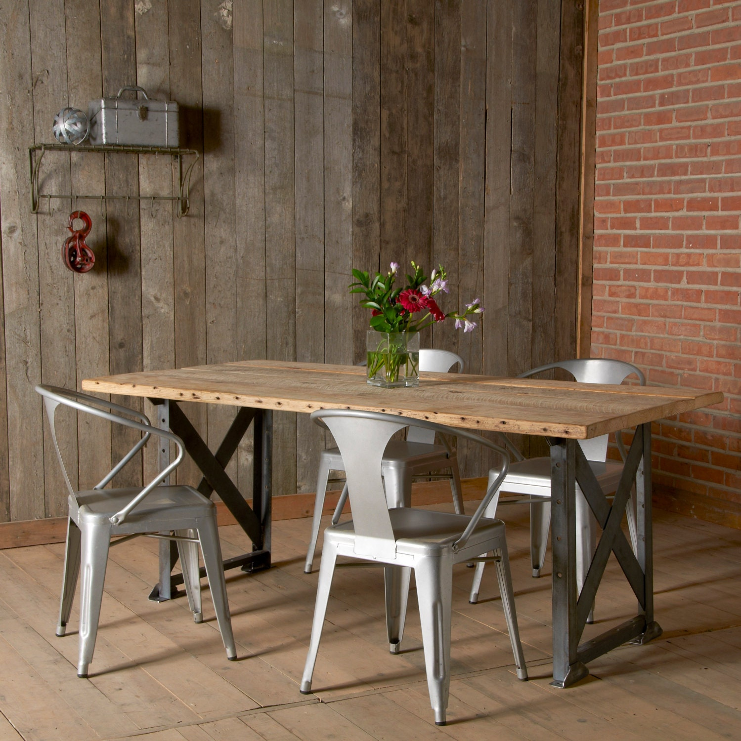 modern industrial dining table and x styled by urbanwoodgoods
