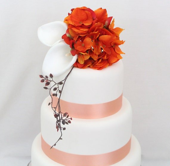 Wedding Cake Topper - Autumn Calla Lily, Orange Hydrangea Silk Flower Wedding Cake Topper, Wedding Cake Flowers