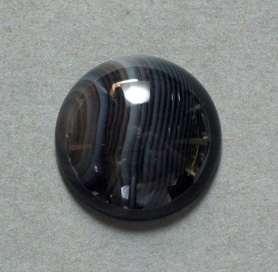 BLACK ONYX round cabochon 19mm disc dome designer cab