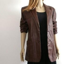 Vintage 1980s Leather Jacket Dark Brown Boyfriend Blazer / Size 42