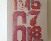 Letterpress Print - Numbers Counting Wood Type