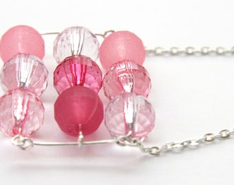 Mixed Pink Lucite Crystal Beads Stacked Bar Necklace Fidget Geometric Necklace Sterling Silver Chain Necklace Modern Necklace Retro Fashion