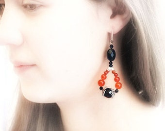 Luxe Carnelian Earrings, Long Dangle Earrings, Orange Cernelian and Black Faceted Glass, Sterling Silver, OOAK Handmade Artisan Jewelry