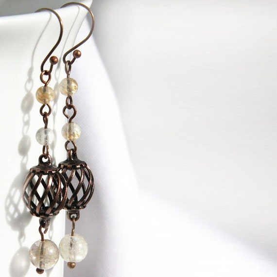 Long Dangle Earrings - Copper Cage Earrings - Gold Rutilated Quartz - Stunning Stones - Boho