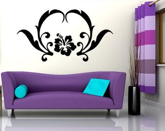 Vinyl Wall Decal Sticker Hibiscus with Leaves OSAA244B