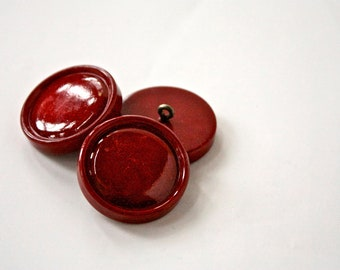 6 Scarlet Burgundy Vintage Buttons - 1950s - 60s Plastic Buttons - New Old Stock Buttons - SIX Dark Red Buttons