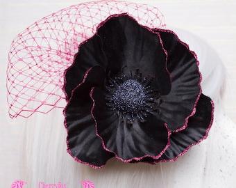 Flower & Net Fascinator, Black Poppy Clip, Pink Glitter, Netting, Goth, Lolita, Rockabilly, Bride, Bridal, piece, hair, ornament, veil