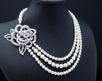 Pearl Necklace,Bridal Rhinestone Necklace,Ivory Pearls,Pearl and Rhinestone Necklace,Statement Bridal Necklace,Rose,Wedding Necklace,ROSALBA