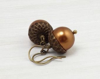 Copper Acorn Earrings - Fall Jewelry - Pearl Earrings - Autumn Jewelry - Short Dangle Fall Earrings - Woodland Acorn Jewelry