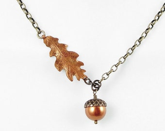 Acorn Necklace Acorn and Oak Leaf Jewelry Copper and Antique Brass Vintaj Beaded Jewelry Fall Jewelry Autumn Jewelry Woodland Rustic