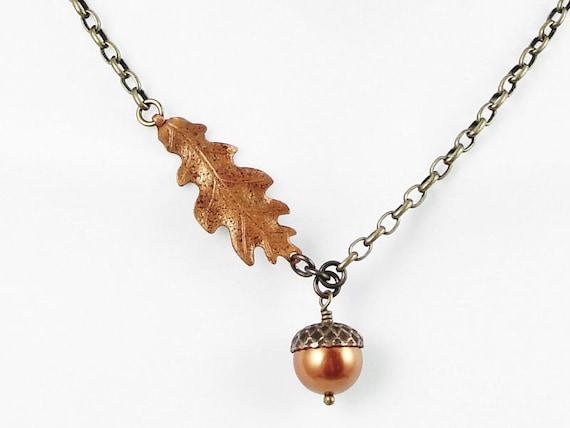 Acorn Necklace Acorn and Oak Leaf Jewelry Copper and Antique Brass Vintaj Beaded Jewelry Fall Jewelry Autumn Jewelry Woodland Rustic