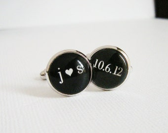 I Heart You Cufflinks on Our Wedding Day You Love Me Custom Initials Anniversary Date - Black Tie Silver Cuff Links for the Groom Valentine