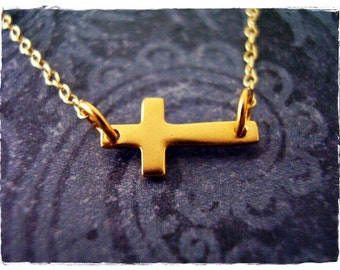 Tiny Sideways Gold Cross Necklace - Matte 24kt Gold Plate Sideways Cross Charm on a Delicate 14kt Gold Filled Cable Chain or Charm Only