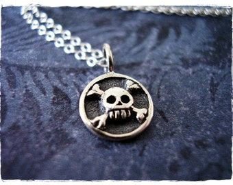 Tiny Skull and Bones Necklace - Sterling Silver Skull and Bones Charm on a Delicate 18 Inch Sterling Silver Cable Chain