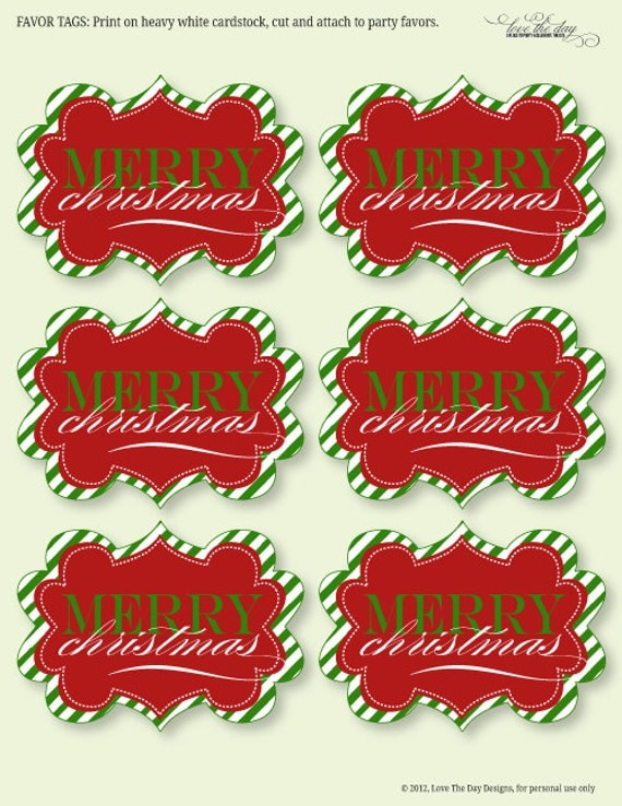 Merry Christmas PRINTABLE Neighbor Gift Tags (INSTANT DOWNLOAD) by Love The Day