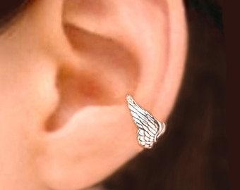 Tiny Angel wing ear cuff Sterling Silver earrings Wing jewelry wing earrings Sterling silver ear cuff Small clip men & women earcuff C-067